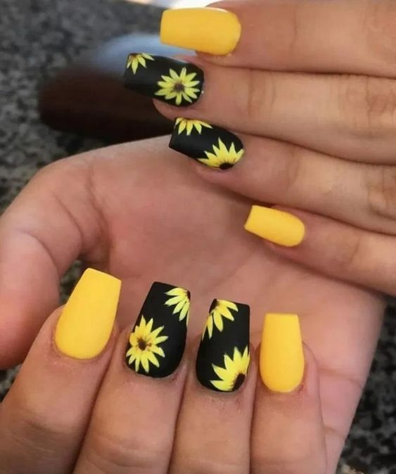 Black and yellow floral nail designs with sunflower