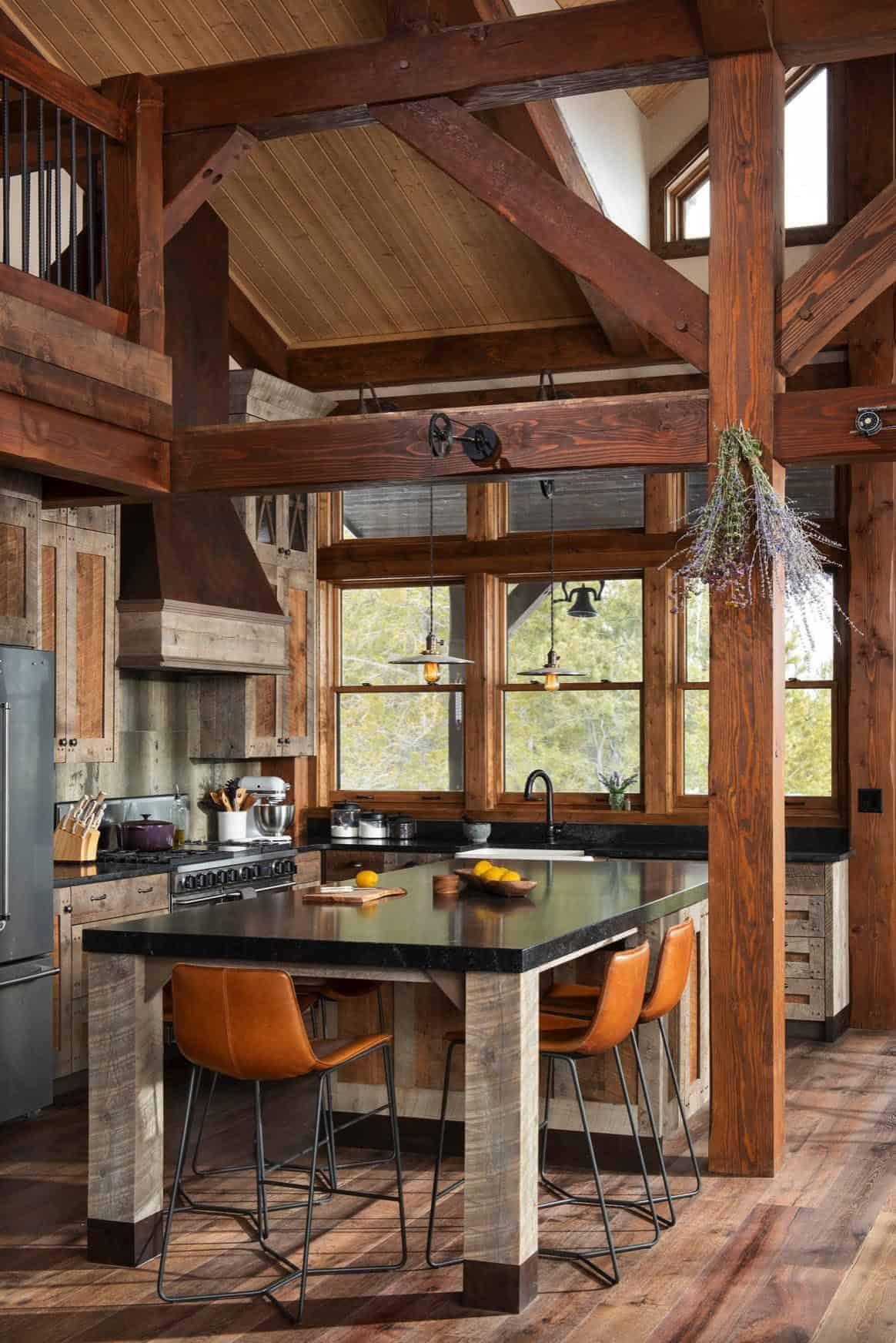 rustic wood frame kitchen