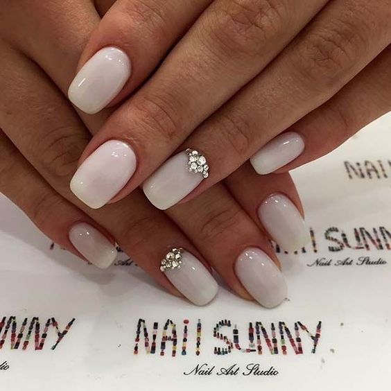 Elegant acrylic wedding nails