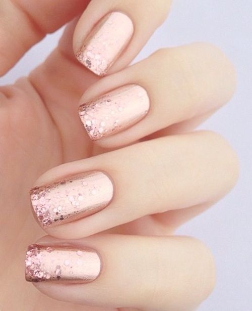 Rose gold bridal nails