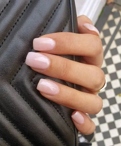 Pink short acrylic bridal nails
