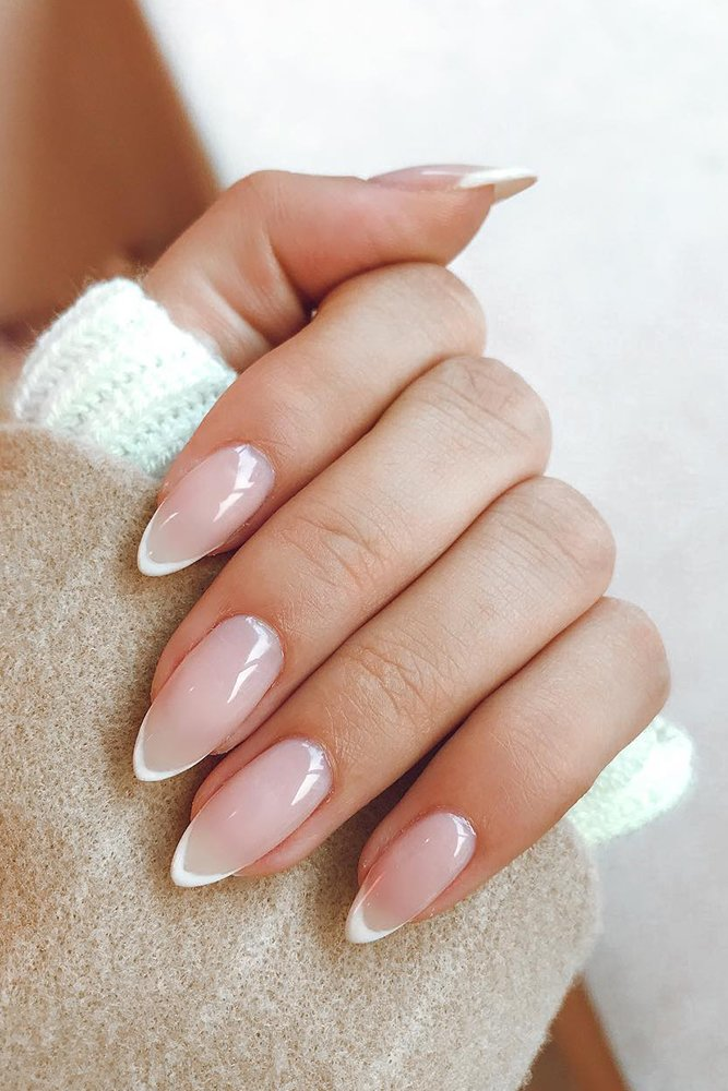 Almond acrylic bridal nails with French manicure