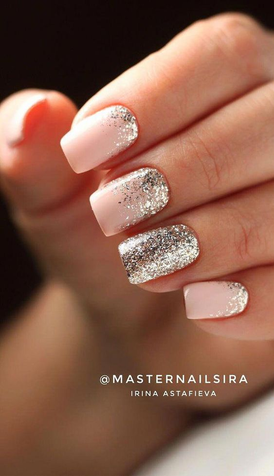 Pink short acrylic bridal nails with glitter