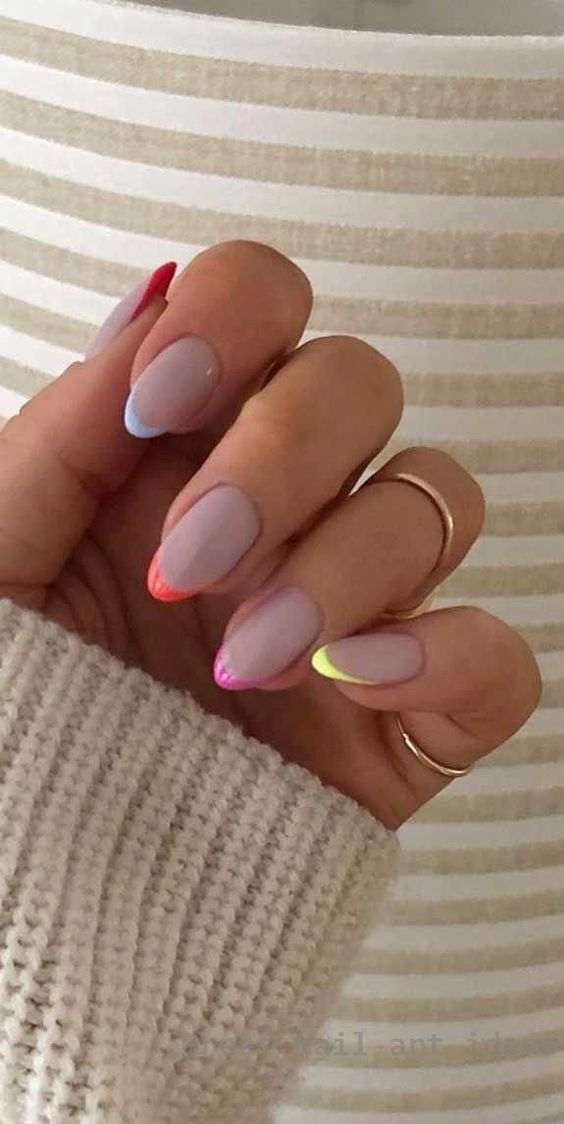 Colorful French tip nails perfect for weddings