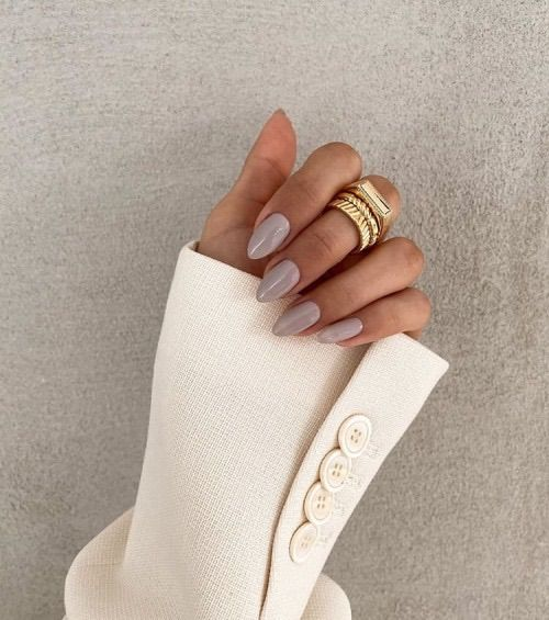 Short taupe nails in almond shape