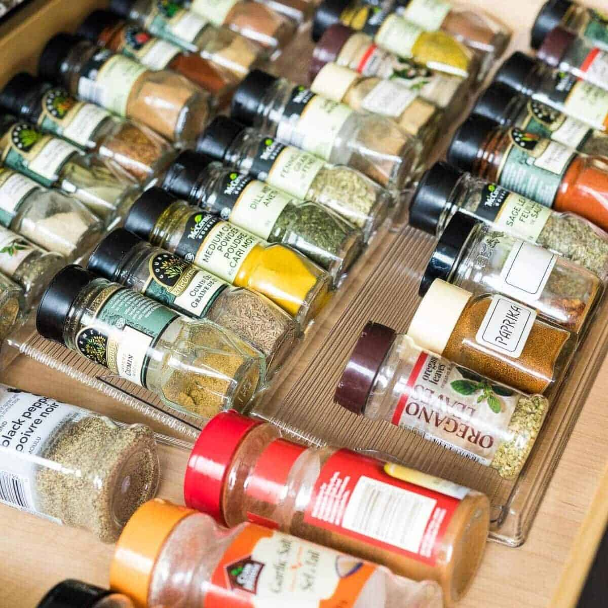 Rows of spices in glasses