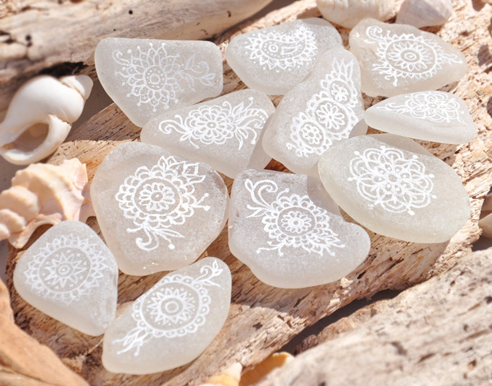 Beautiful white in white painted rocks