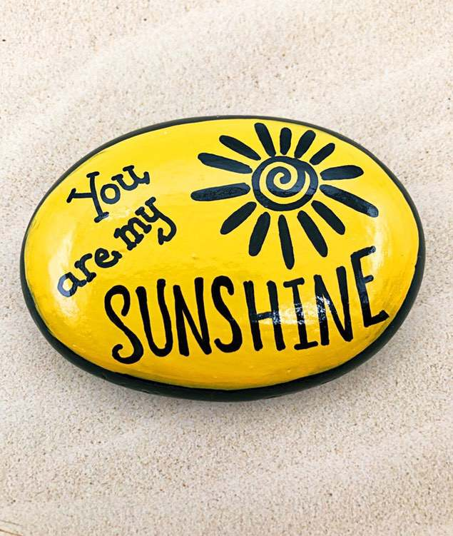 Yellow You are my sun My idea of ​​painted rock
