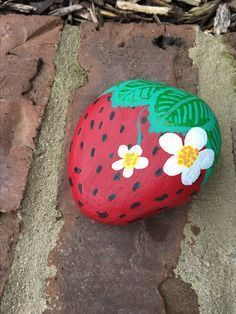 Strawberry painted stone