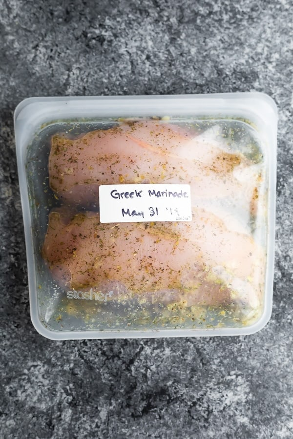 Greek chicken marinade in a reusable silicone bag