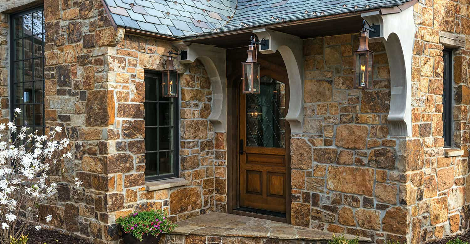 traditional stone country house entrance
