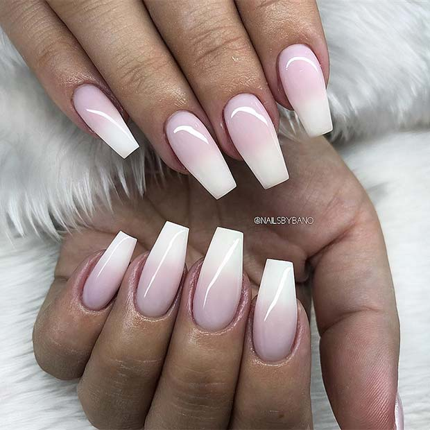 Slender French ombre coffin nails