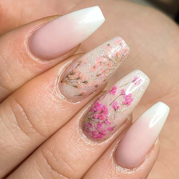 French ombre nails with flower nail designs