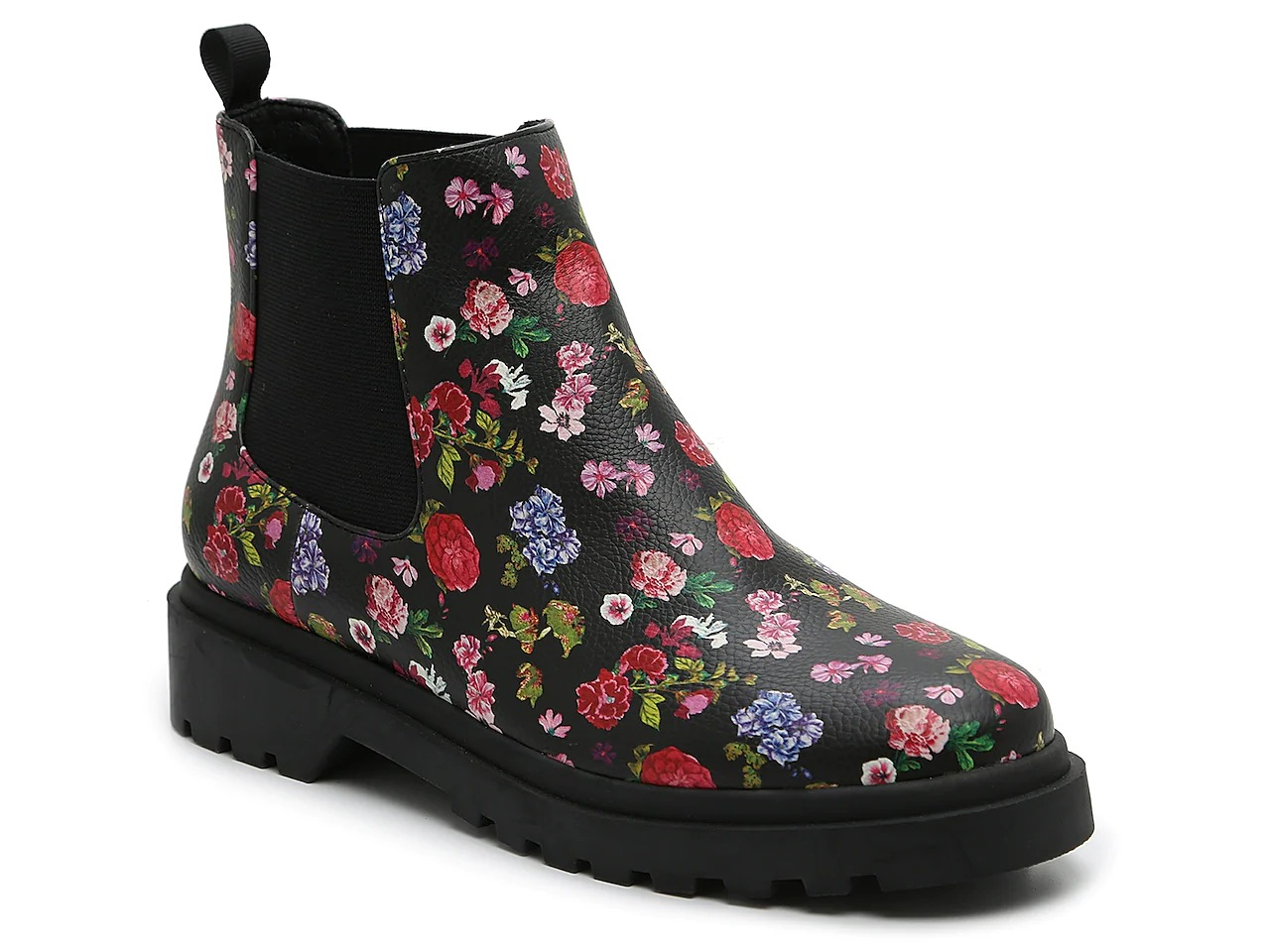 Affordable floral print chelsea boots