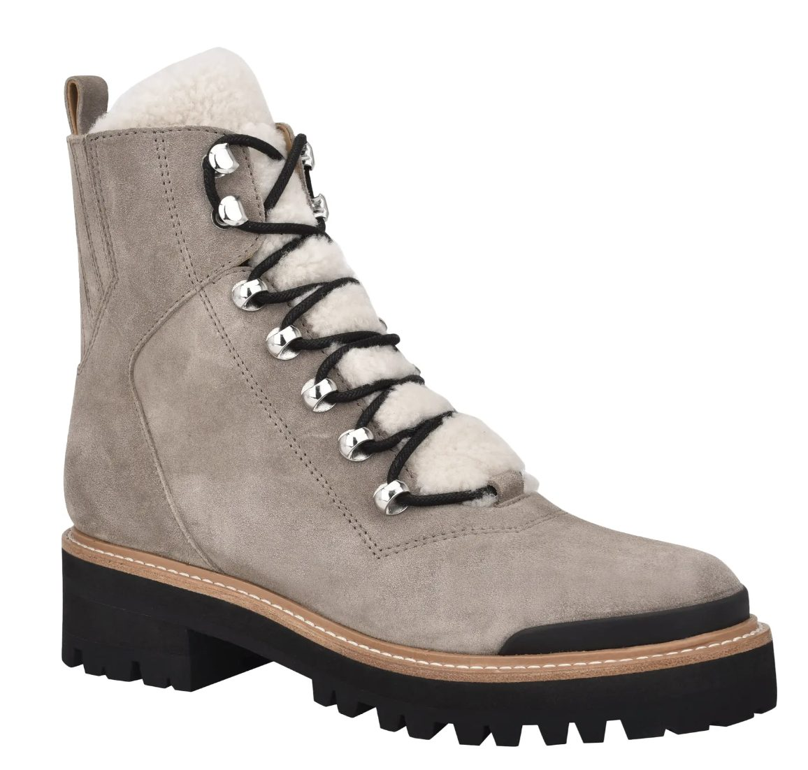 Taupe lace-up boots made of suede and fur