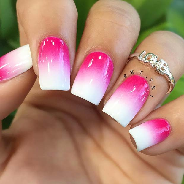 Vibrant pink and white ombre nails