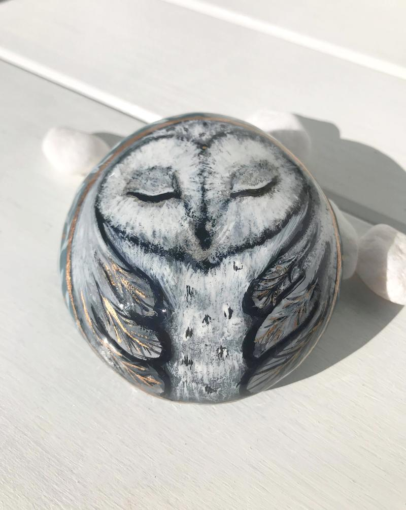 Silver Owl Painted Rocks