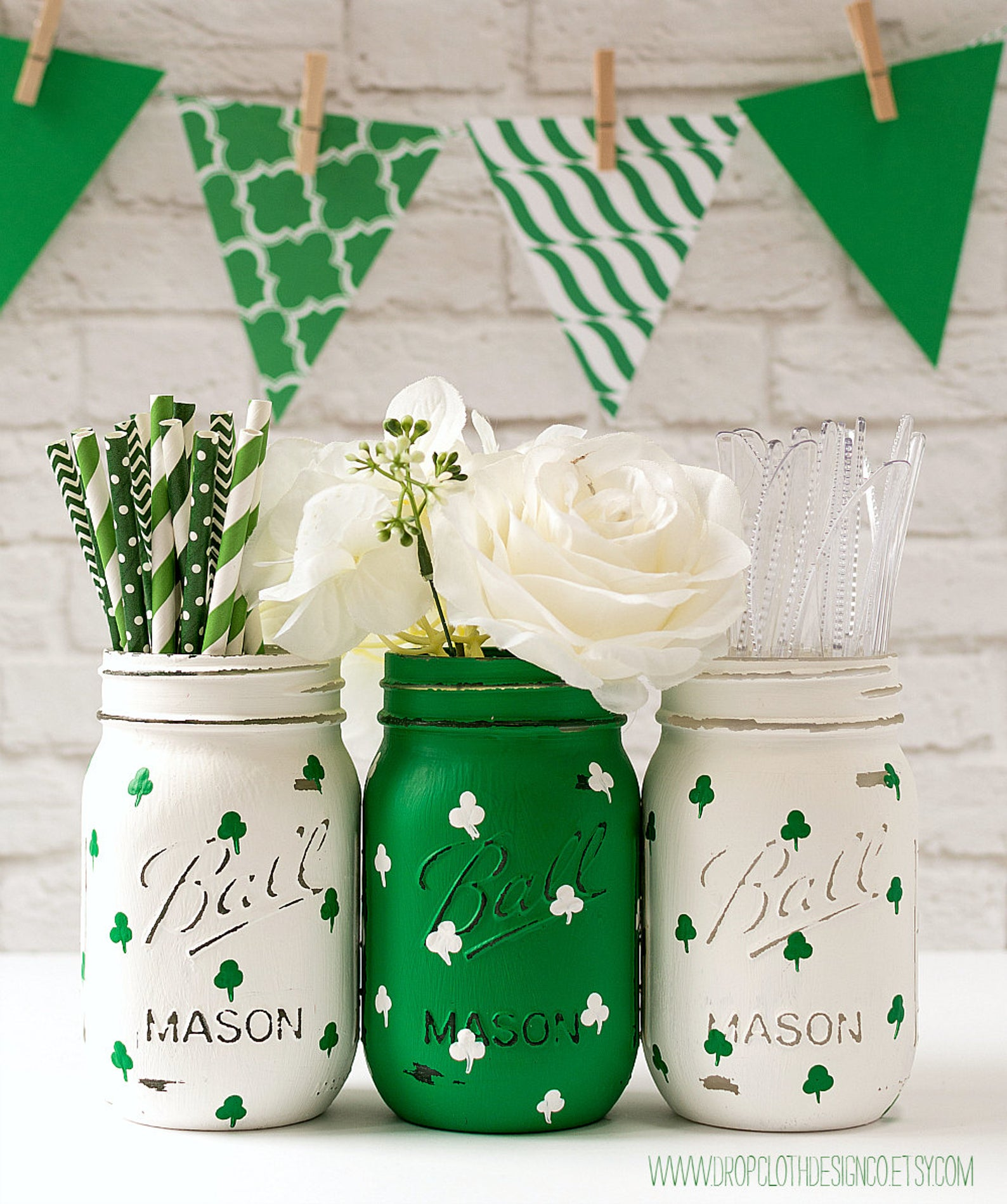 Decoration ideas for St. Patrick & # 39; s Day - Mason jars for St. Patrick & # 39; s Day