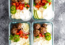 Low carb meatball burrito bowls