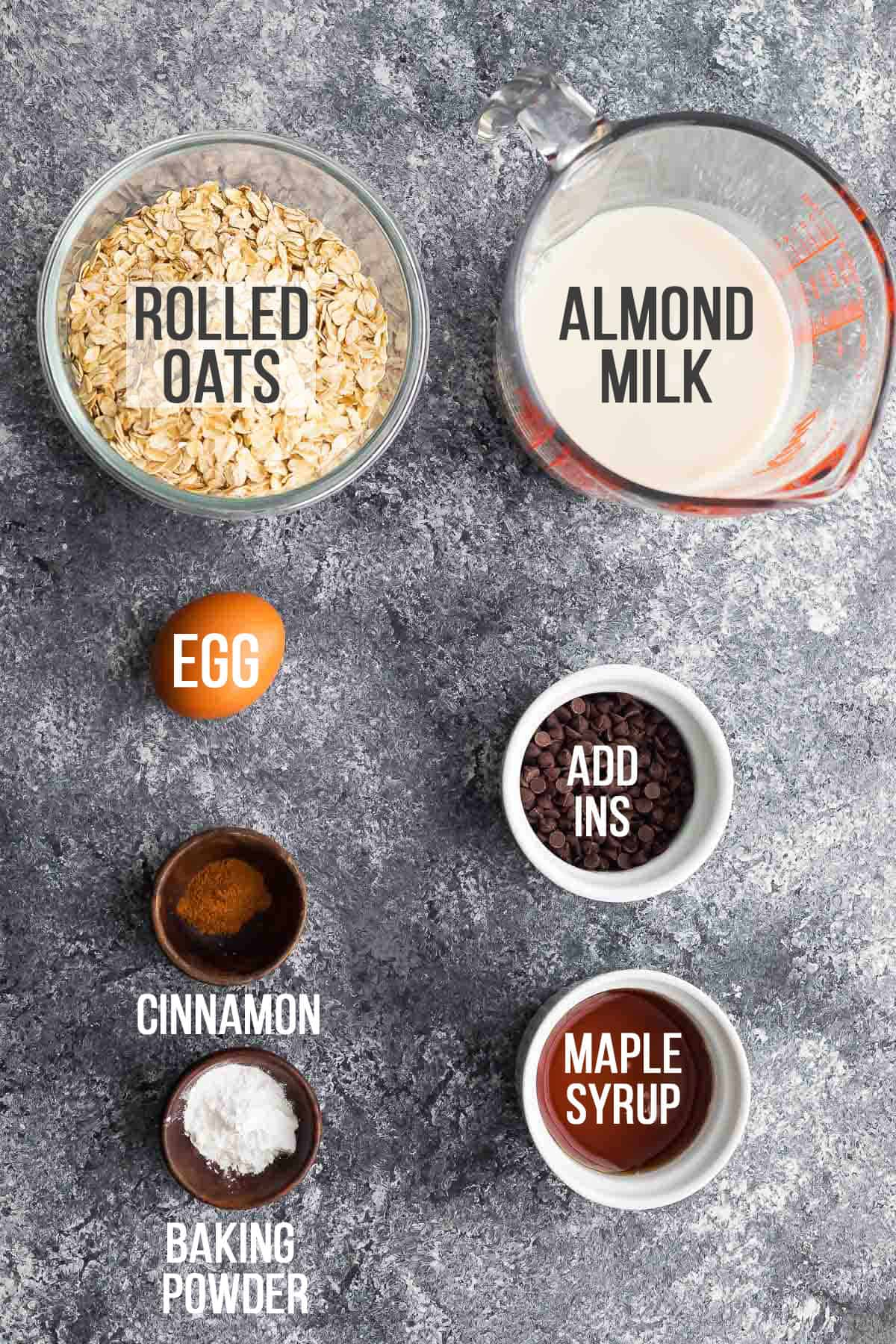 Necessary ingredients for baked oatmeal