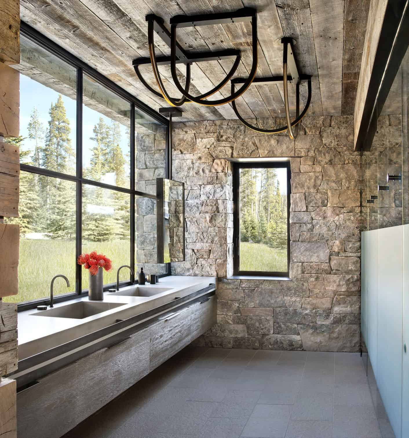 rustic bathroom in mountain style