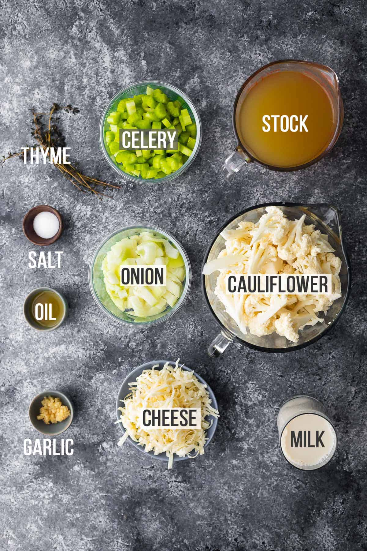 Overhead view of ingredients needed to make instant cauliflower cheese soup