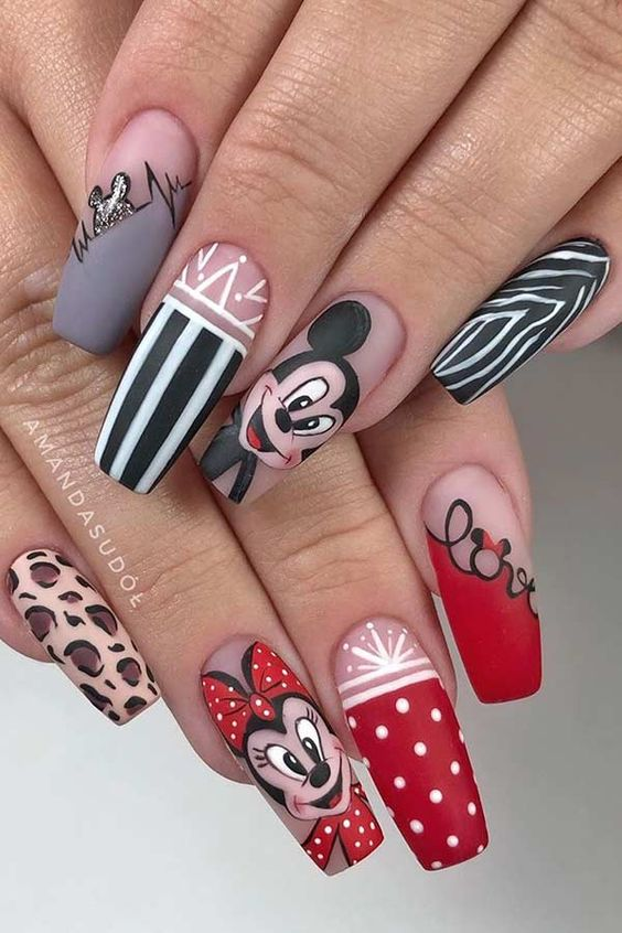 Cute acrylic Disney nails with Mickey Mouse and Minnie