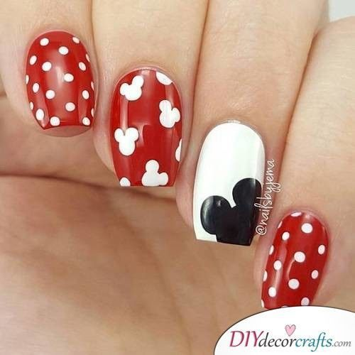 Red Disney nails with polka dots