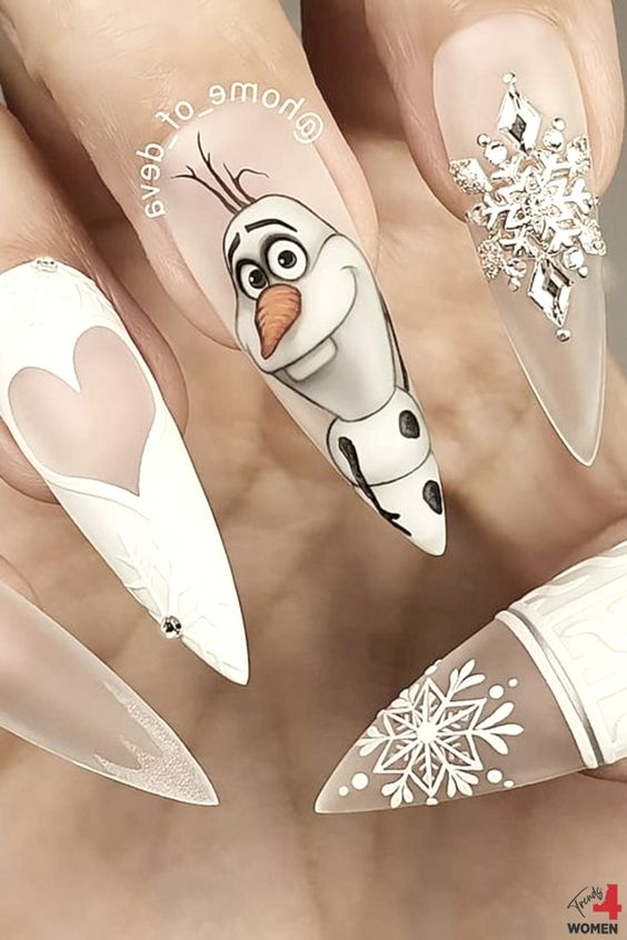 White frozen nails, olaf nails with acrylic stiletto motifs