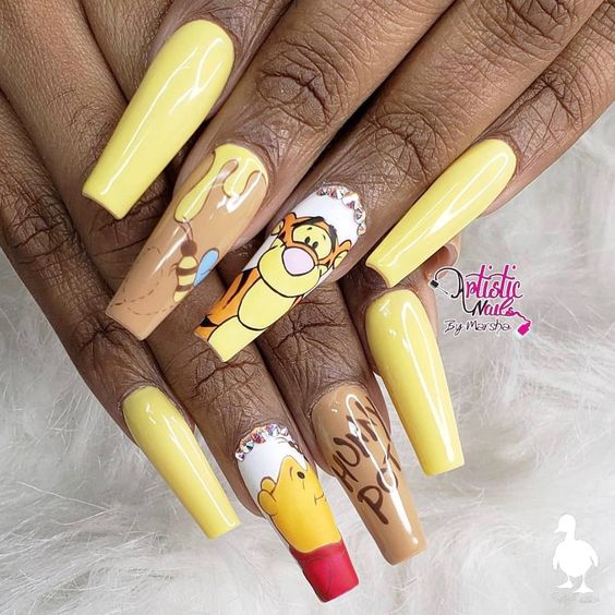 Yellow Winnie The Pooh Acrylic Coffin Nail Shaped Nails