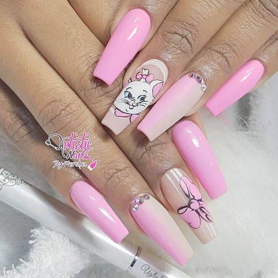Pink Aristocats nails with Marie