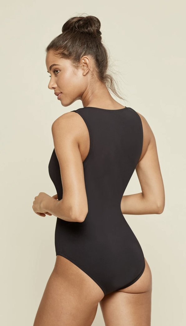 Cute black one-piece swimsuits that cover the back