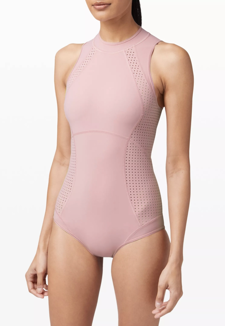 Pink one-piece swimsuits for covering pimples