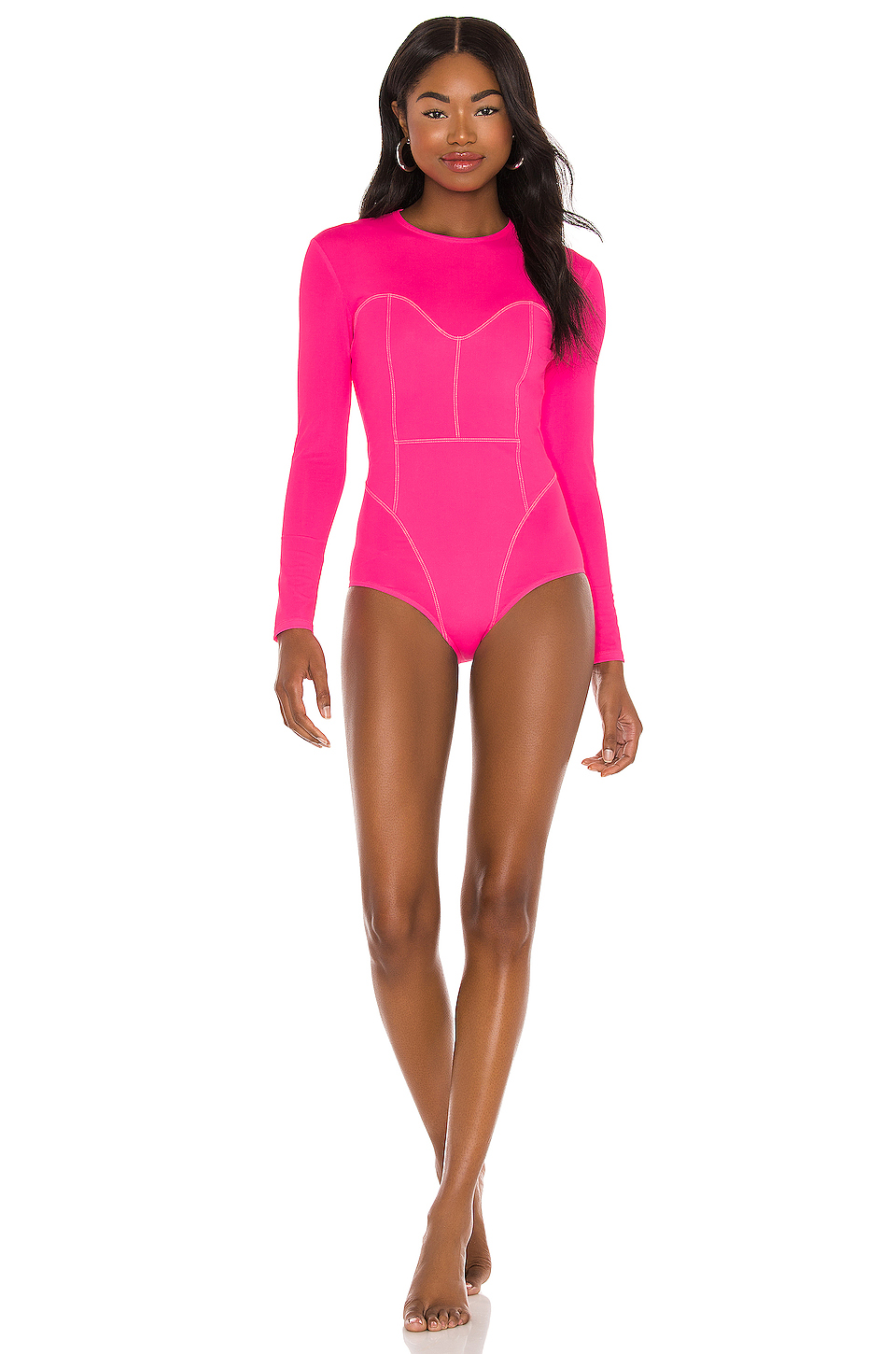 One-piece swimsuit in pink with long sleeves that covers the rear pimples and shoulders