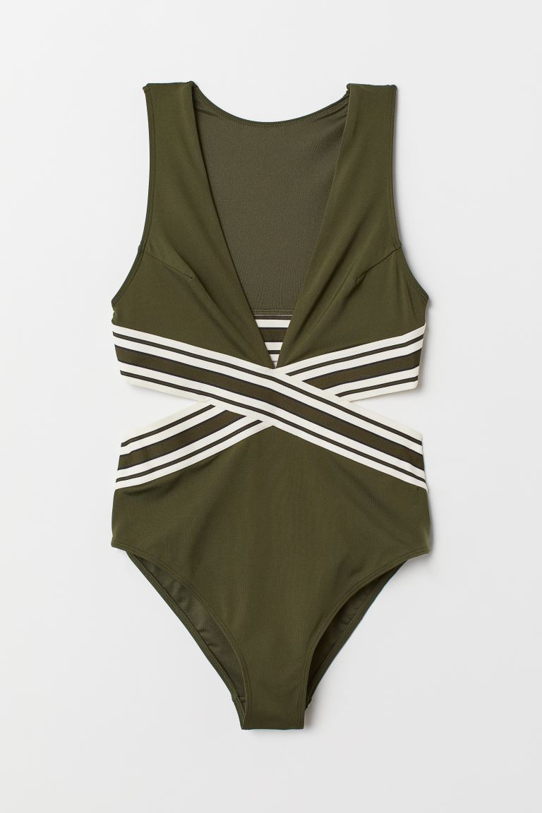 Cut out a piece to cover the khaki green back