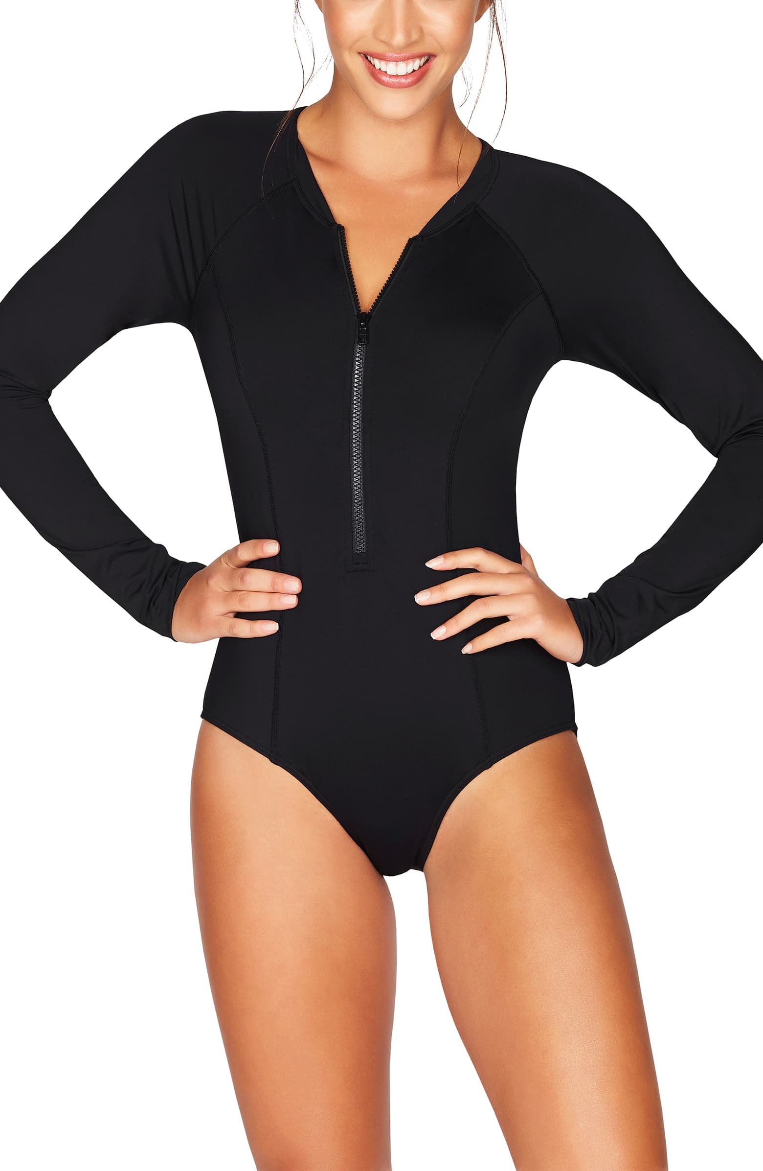 Black one-piece swimsuit with long sleeves that covers acne and shoulders