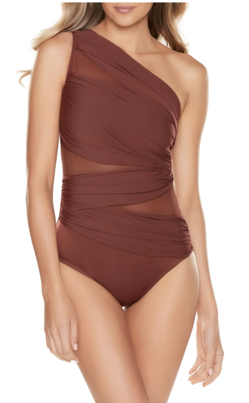 Brown asymmetrical one-piece swimsuits that cover the back fat