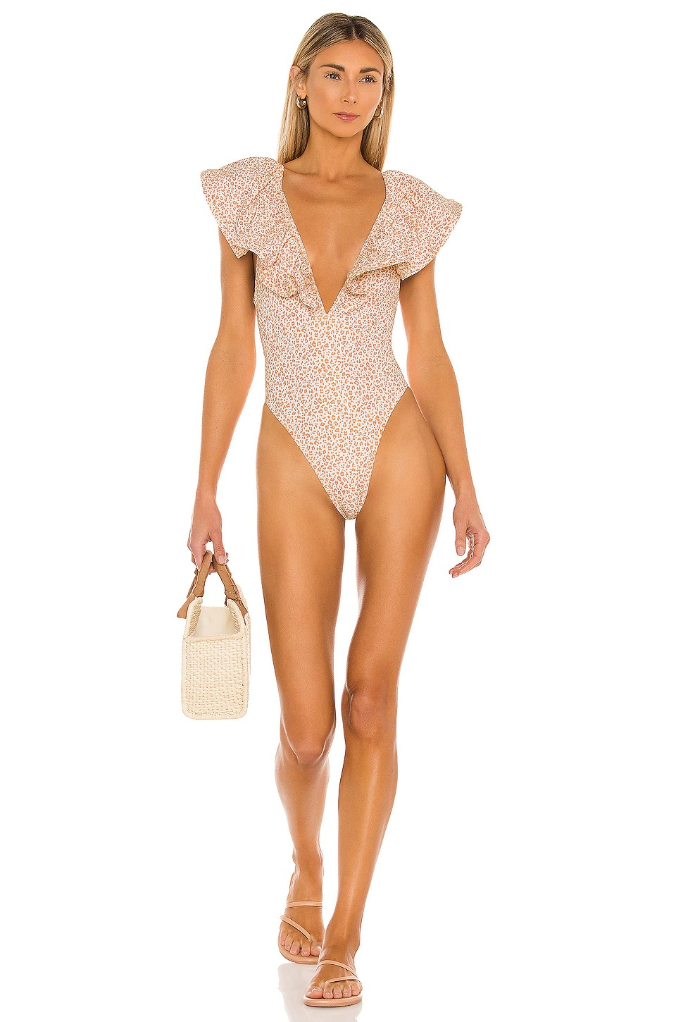 One-piece swimsuits with ruffles for flat chest