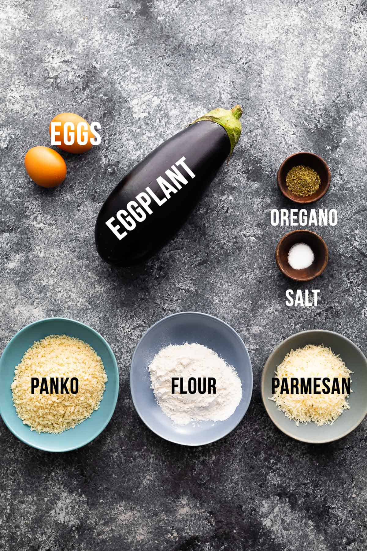 Ingredients for eggplant in the air fryer (with labels)