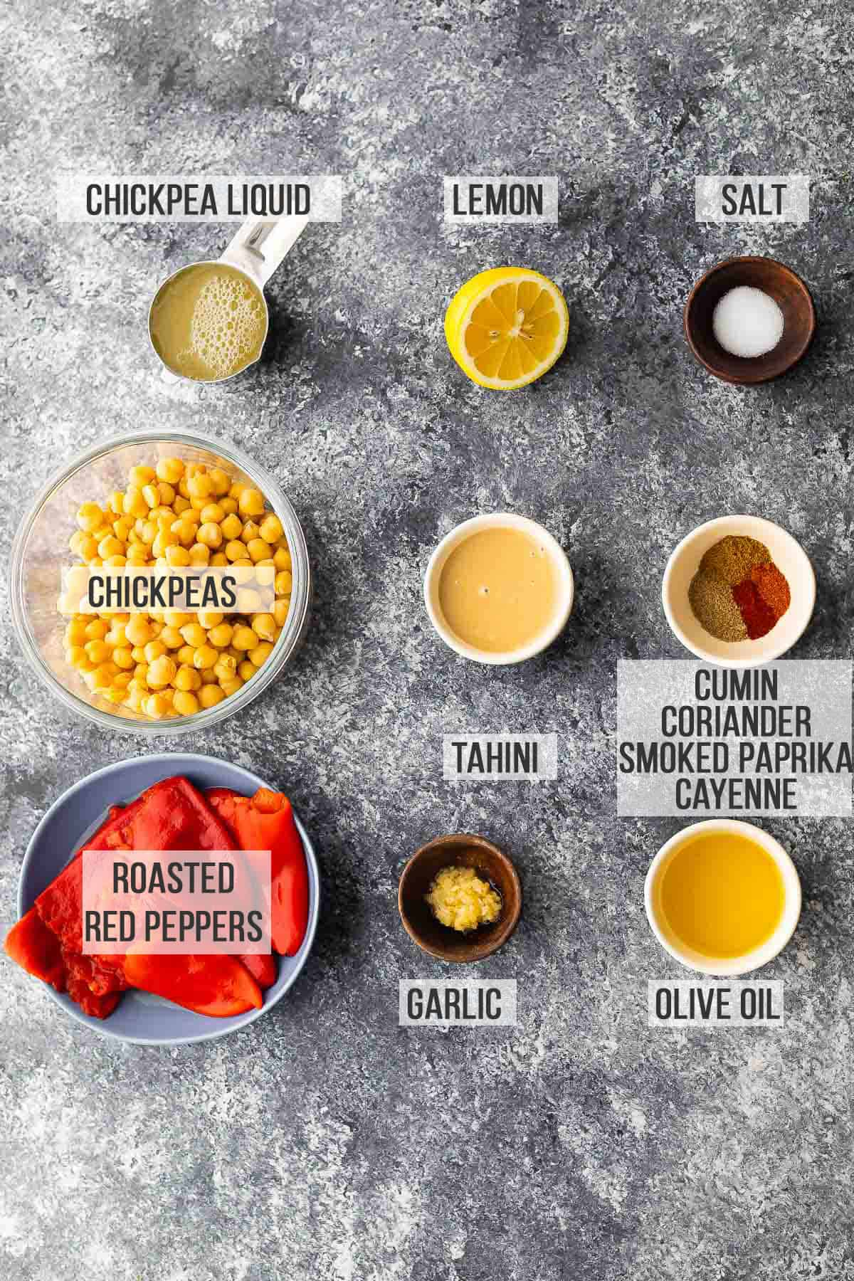Labeled ingredients for roasted hummus with red pepper