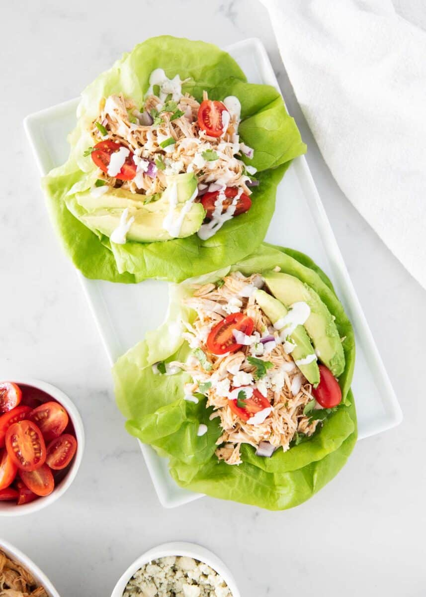 Buffalo Chicken Wraps on Salad Plate