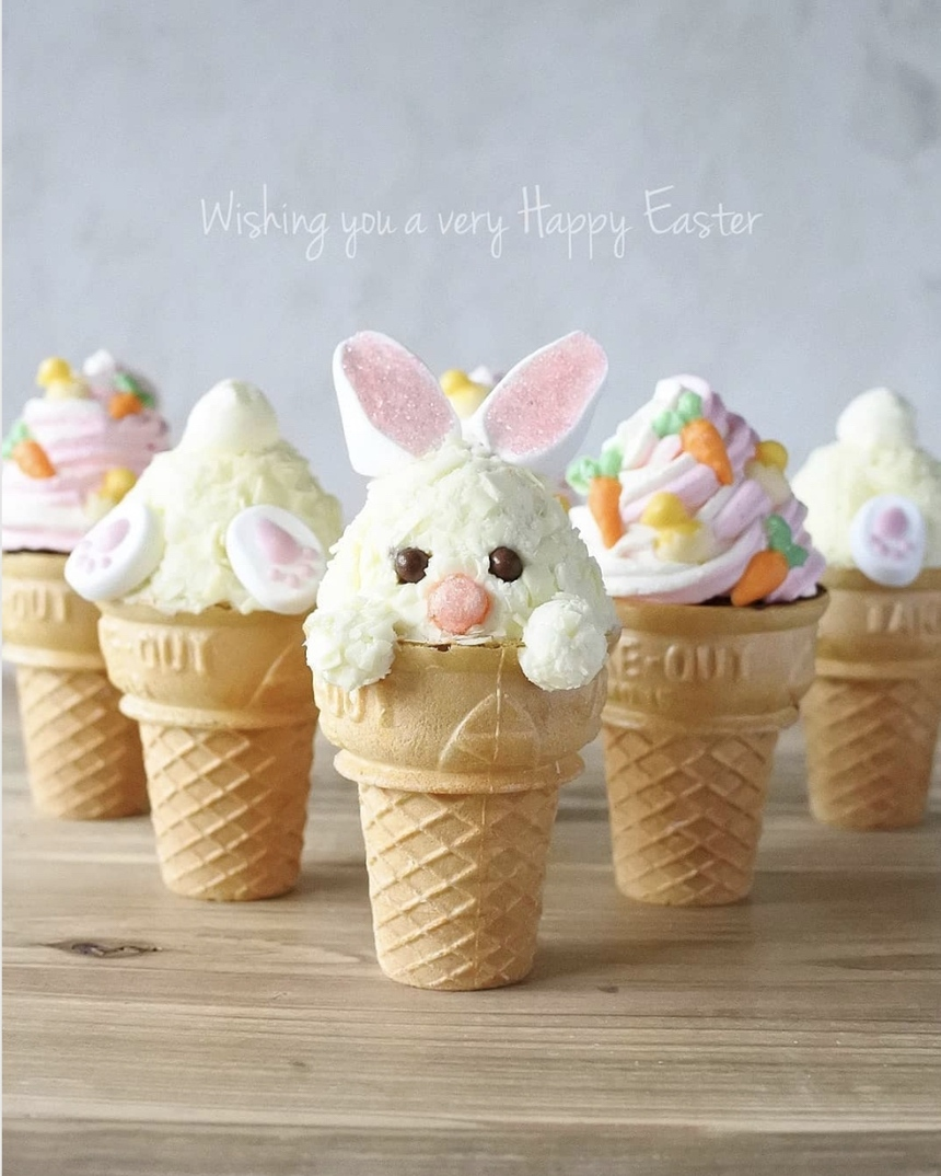 Simple ideas and recipes for the Easter brunch: Bunny Ice Cream
