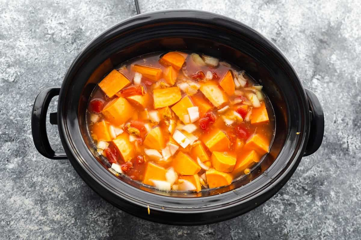 Ingredients for peanut stew before cooking in a slow cooker
