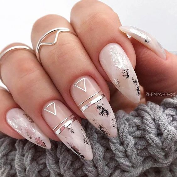 White and silver almond nails