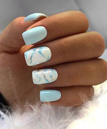 Sweet light blue nails