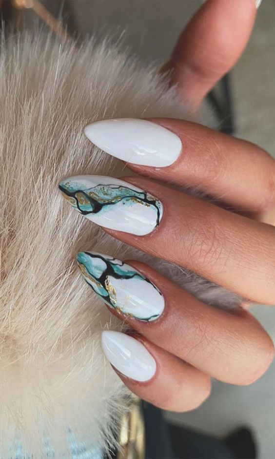 White and green marble nails