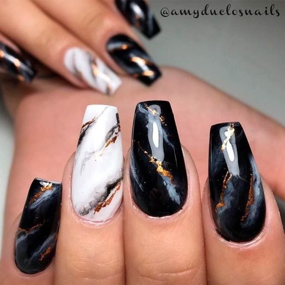 Gray and black marble nails