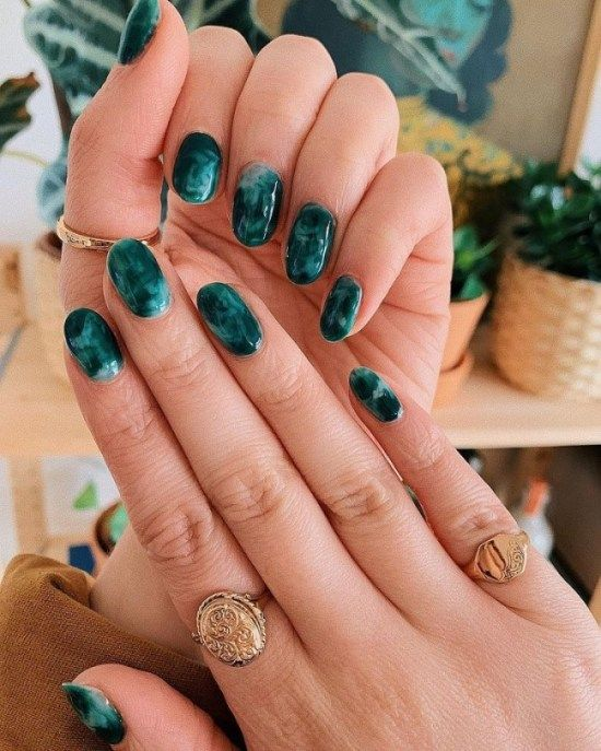 Dark green marble nails