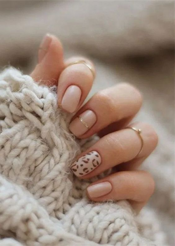 Nude short nail designs with animal print