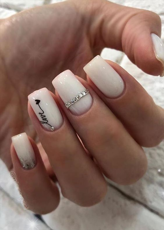 Short White Acrylic Coffin Nail Designs
